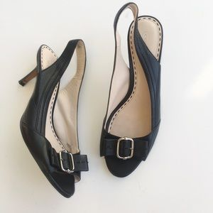 Coach Leather Bow Detail Slingback Heels 9.5